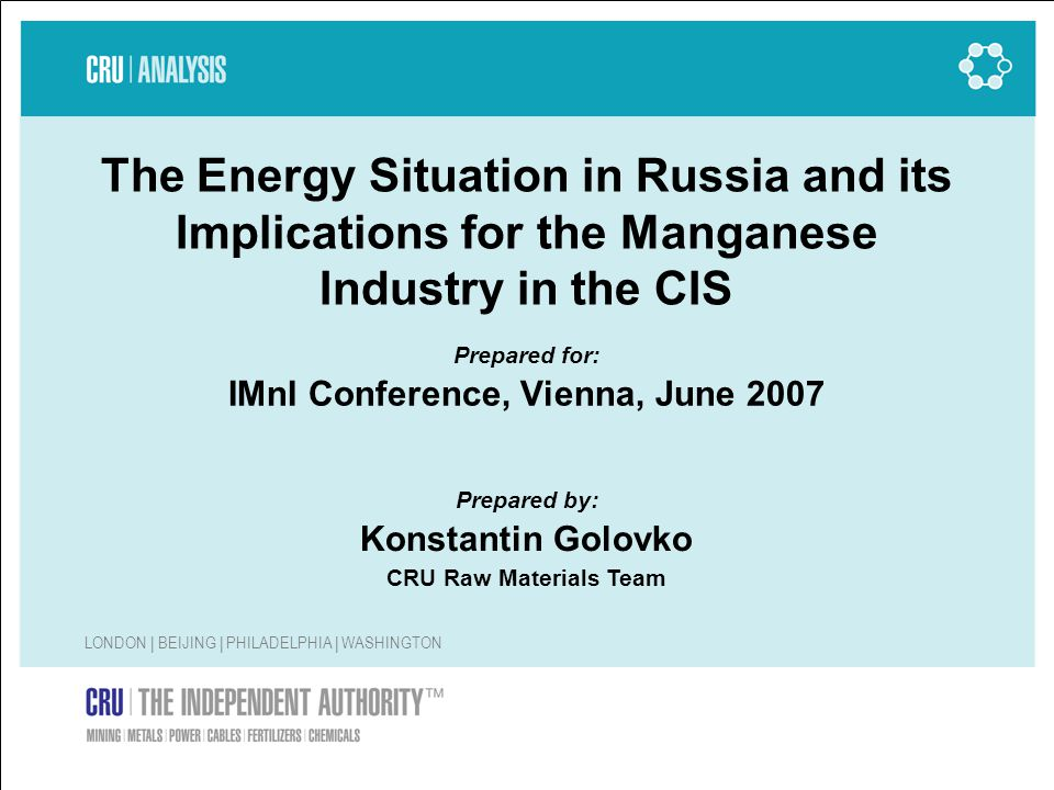 2 Contents 1.Why is energy important for the manganese industry.