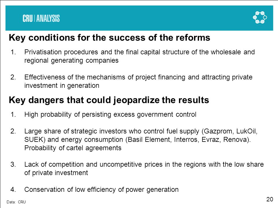 20 Key conditions for the success of the reforms Data: CRU 1.Privatisation procedures and the final capital structure of the wholesale and regional generating companies 2.Effectiveness of the mechanisms of project financing and attracting private investment in generation Key dangers that could jeopardize the results 1.High probability of persisting excess government control 2.Large share of strategic investors who control fuel supply (Gazprom, LukOil, SUEK) and energy consumption (Basil Element, Interros, Evraz, Renova).