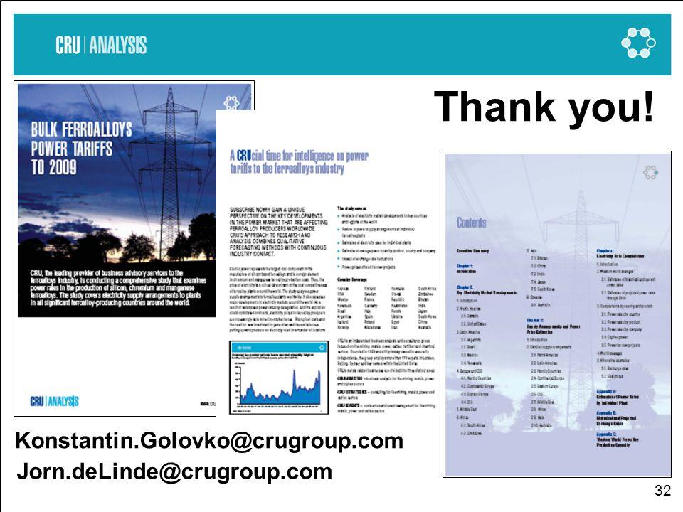 32 Jorn.deLinde@crugroup.com Thank you! Konstantin.Golovko@crugroup.com