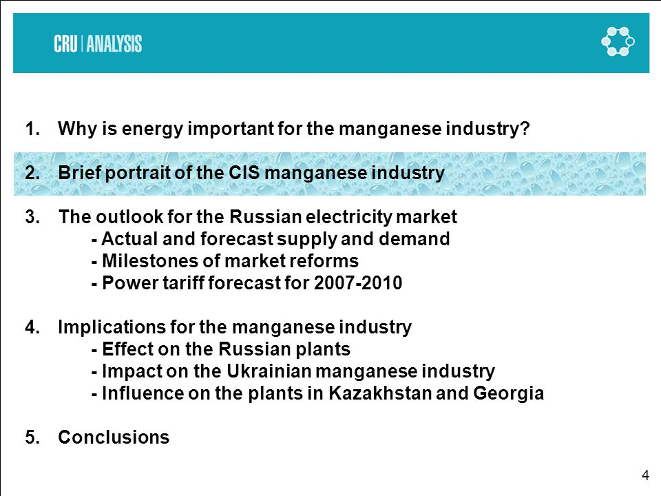 4 1.Why is energy important for the manganese industry.