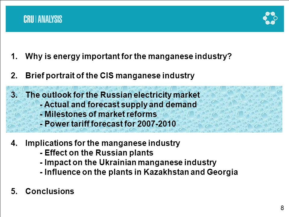 8 1.Why is energy important for the manganese industry.