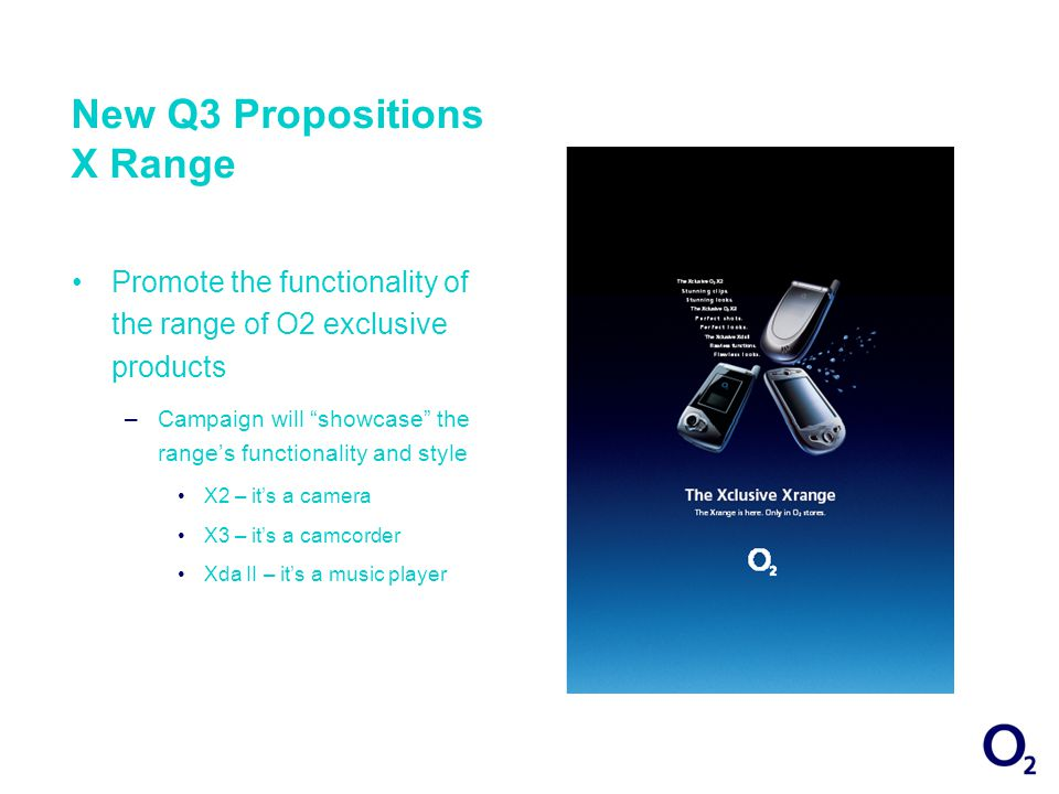 New Q3 Propositions X Range Promote the functionality of the range of O2 exclusive products –Campaign will showcase the ranges functionality and style X2 – its a camera X3 – its a camcorder Xda II – its a music player