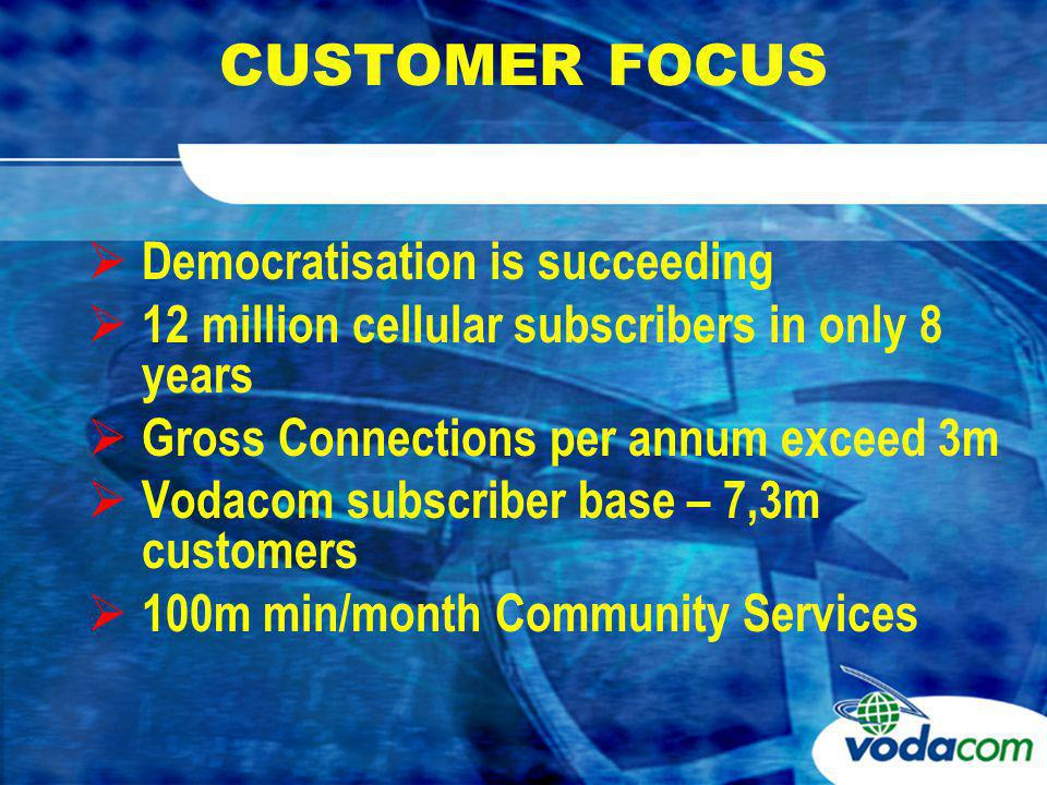PRODUCTS AND TARIFFS VODACOMs COMMUNITY SERVICE Original licence bid approved 99c/min Outgoing calls less than 70c/min for 8 years despite CPI increase of more than 50%.
