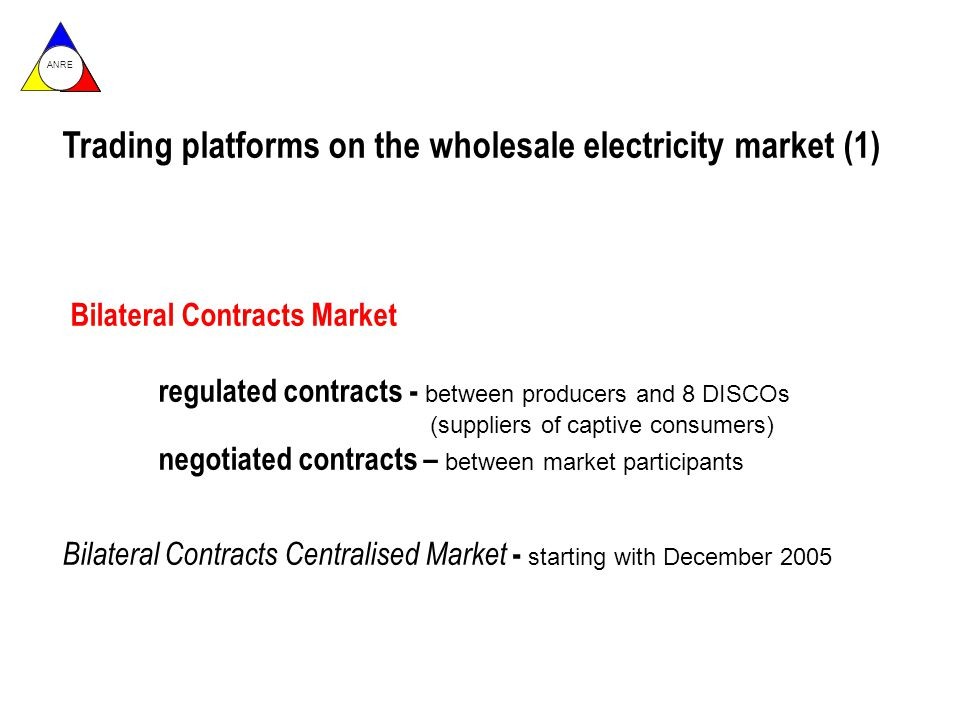 ANRE Trading platforms on the wholesale electricity market (1) Bilateral Contracts Market regulated contracts - between producers and 8 DISCOs (suppliers of captive consumers) negotiated contracts – between market participants Bilateral Contracts Centralised Market - starting with December 2005
