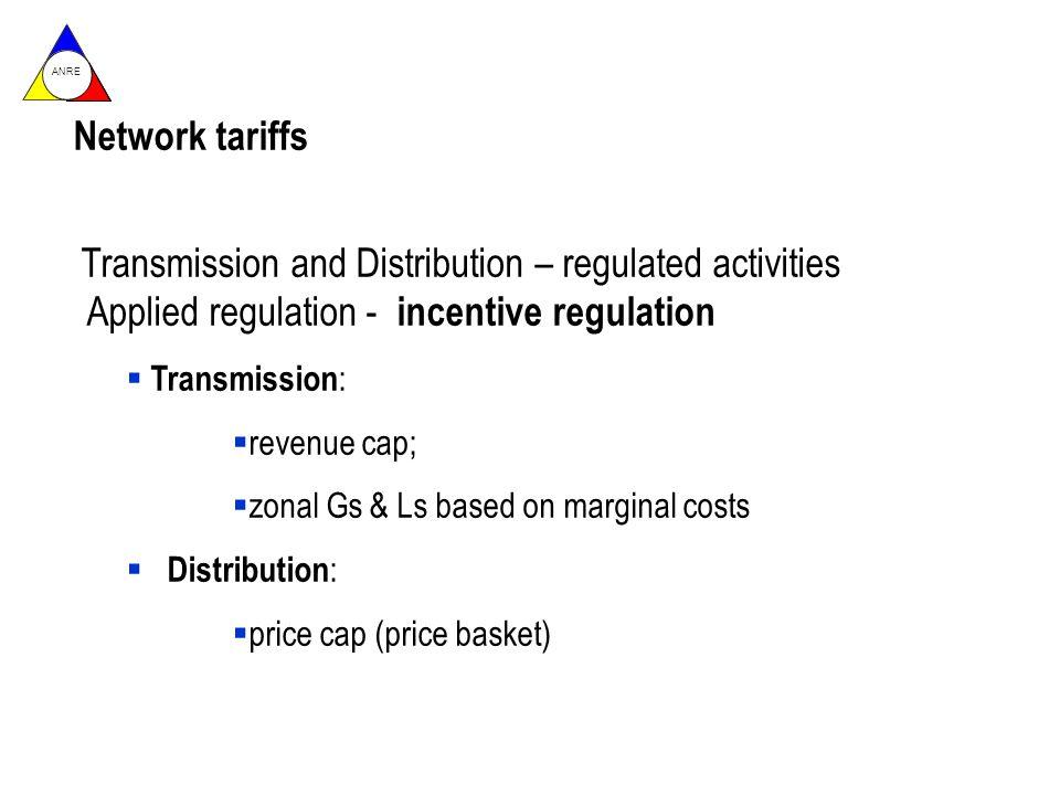 ANRE Network tariffs Transmission and Distribution – regulated activities Applied regulation - incentive regulation Transmission : revenue cap; zonal Gs & Ls based on marginal costs Distribution : price cap (price basket)