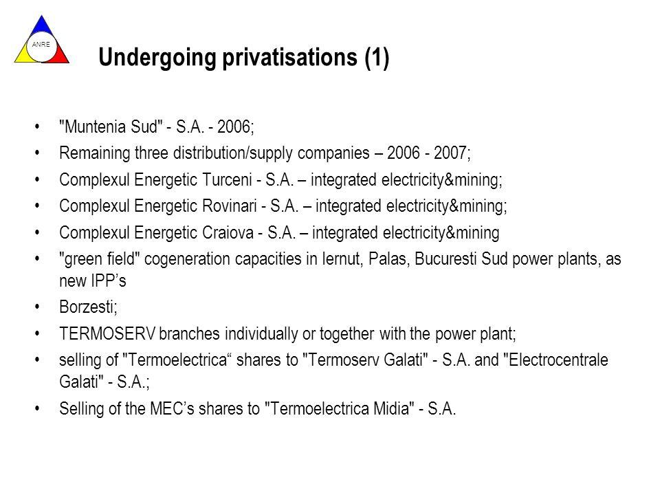 ANRE Undergoing privatisations (1) Muntenia Sud - S.A.
