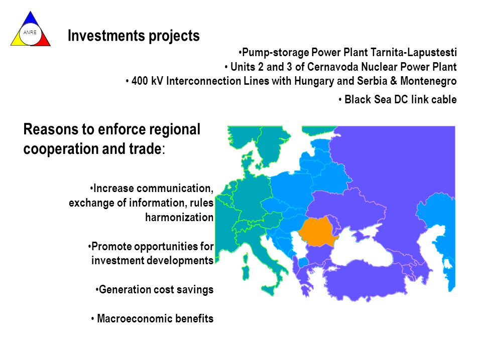 ANRE Investments projects Pump-storage Power Plant Tarnita-Lapustesti Units 2 and 3 of Cernavoda Nuclear Power Plant 400 kV Interconnection Lines with Hungary and Serbia & Montenegro Black Sea DC link cable Reasons to enforce regional cooperation and trade : Increase communication, exchange of information, rules harmonization Promote opportunities for investment developments Generation cost savings Macroeconomic benefits