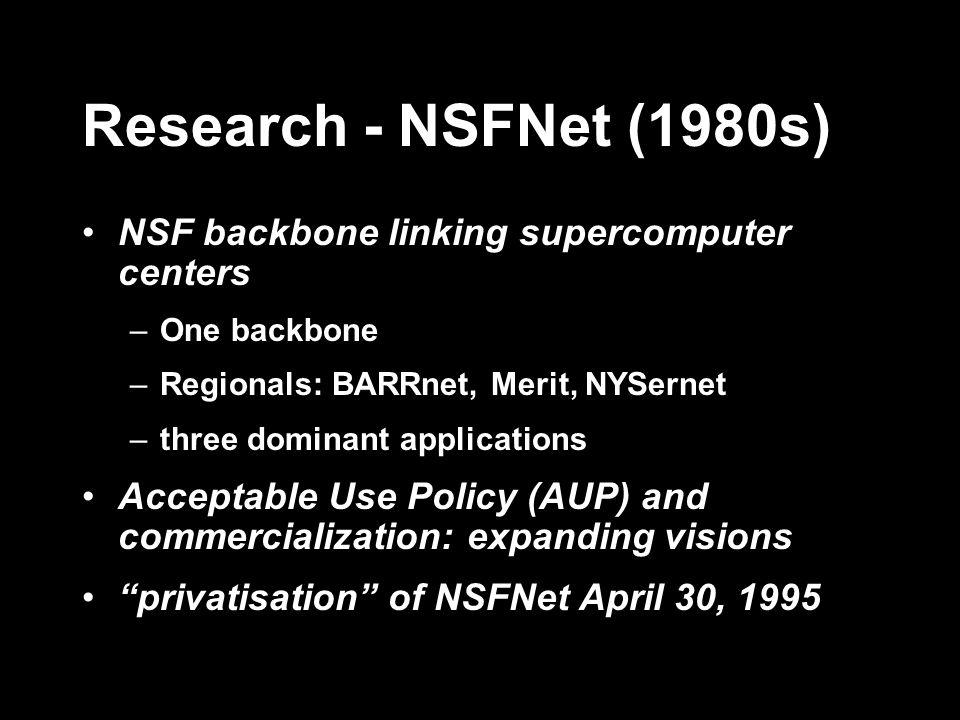 Research - NSFNet (1980s) NSF backbone linking supercomputer centers –One backbone –Regionals: BARRnet, Merit, NYSernet –three dominant applications A