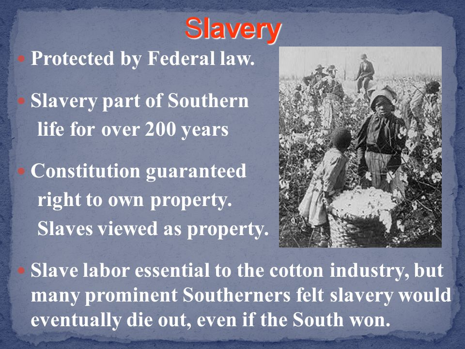 Protected by Federal law. Slavery part of Southern life for over 200 years Constitution guaranteed right to own property. Slaves viewed as property. S
