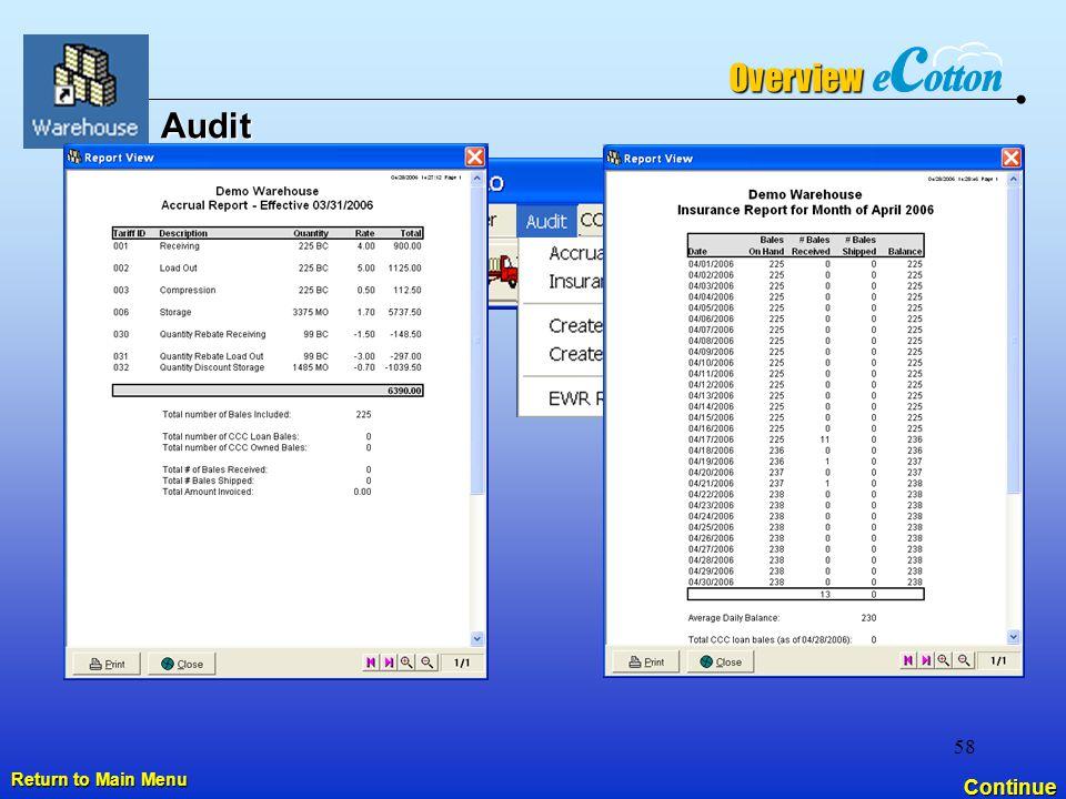 58 Audit Continue Overview Return to Main Menu Return to Main Menu
