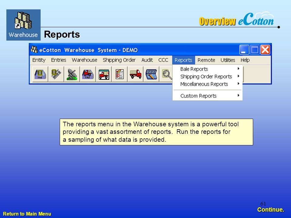 61 Reports Return to Main Menu Return to Main Menu Continue.