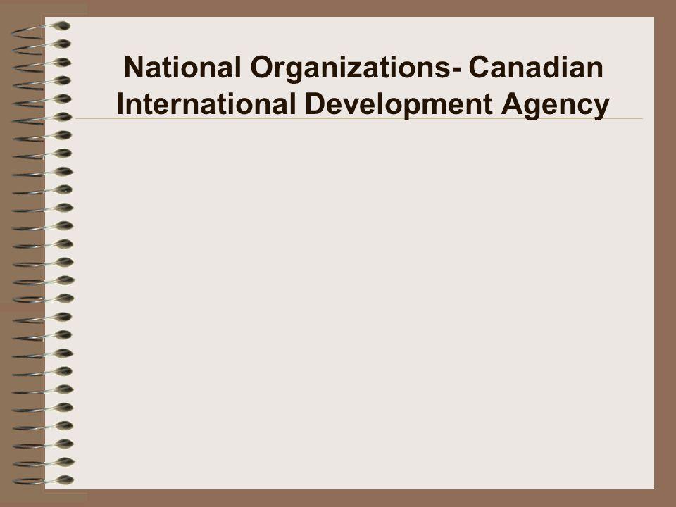 National Organizations- Canadian International Development Agency