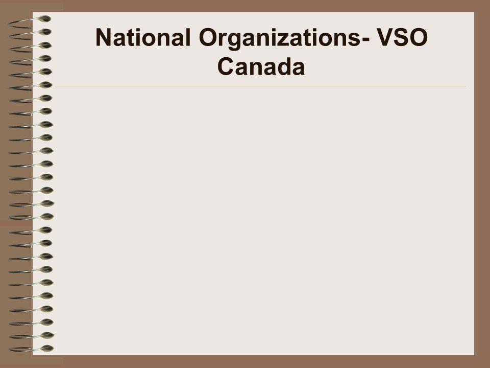 National Organizations- VSO Canada