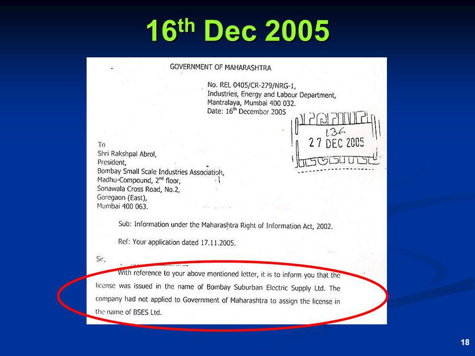 18 16 th Dec 2005