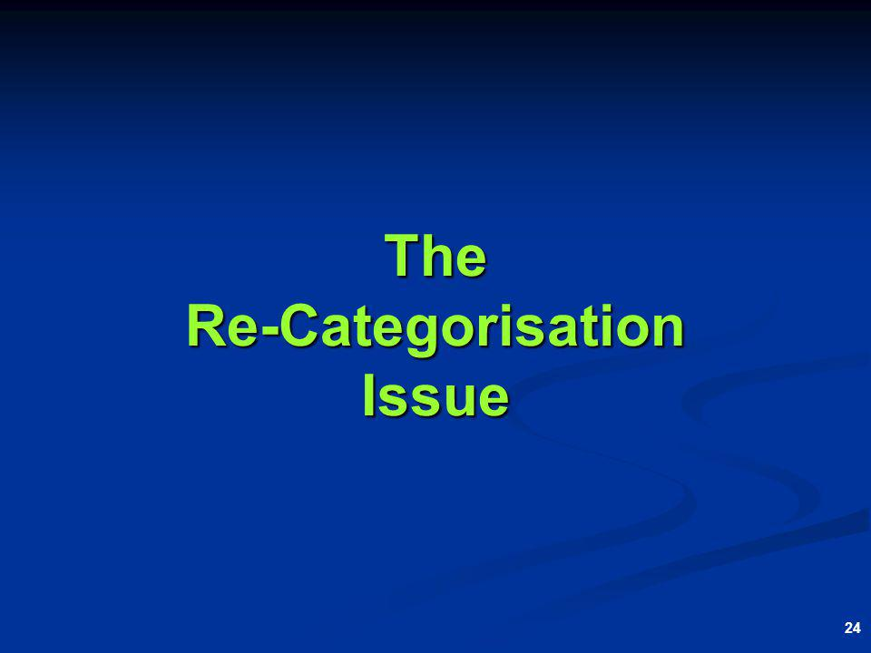 24 The Re-Categorisation Issue