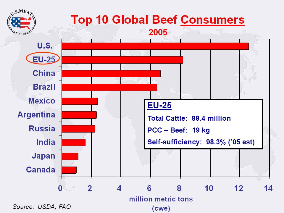 Source: USDA, FAO EU-25 Total Cattle: 88.4 million PCC – Beef: 19 kg Self-sufficiency: 98.3% (05 est)