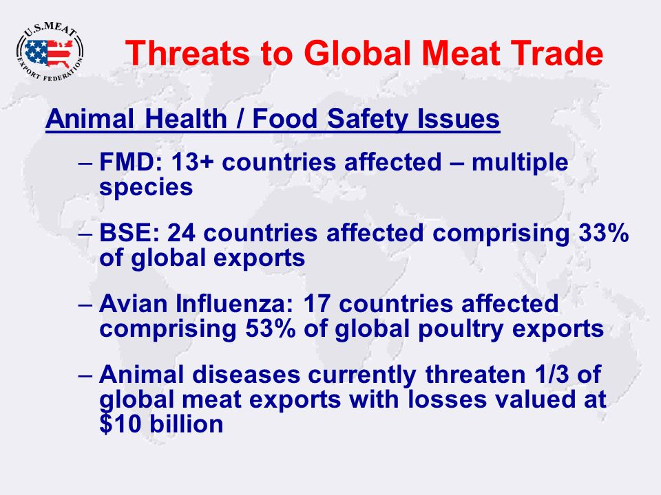 Threats to Global Meat Trade Animal Health / Food Safety Issues –FMD: 13+ countries affected – multiple species –BSE: 24 countries affected comprising 33% of global exports –Avian Influenza: 17 countries affected comprising 53% of global poultry exports –Animal diseases currently threaten 1/3 of global meat exports with losses valued at $10 billion