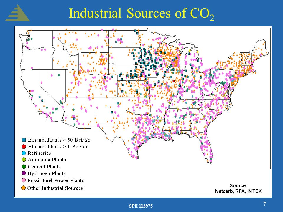 SPE 113975 7 Industrial Sources of CO 2 Source: Natcarb, RFA, INTEK
