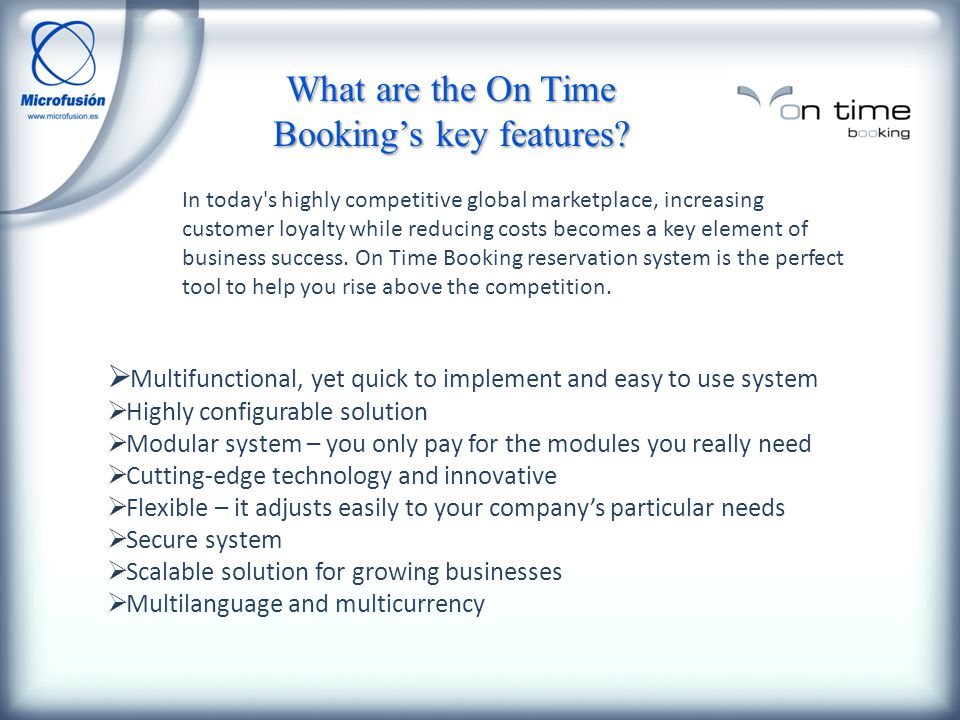 What are the On Time Bookings key features.