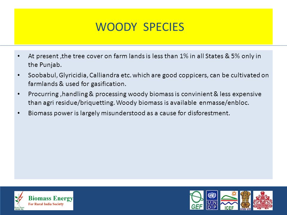 WOODY SPECIES At present,the tree cover on farm lands is less than 1% in all States & 5% only in the Punjab.