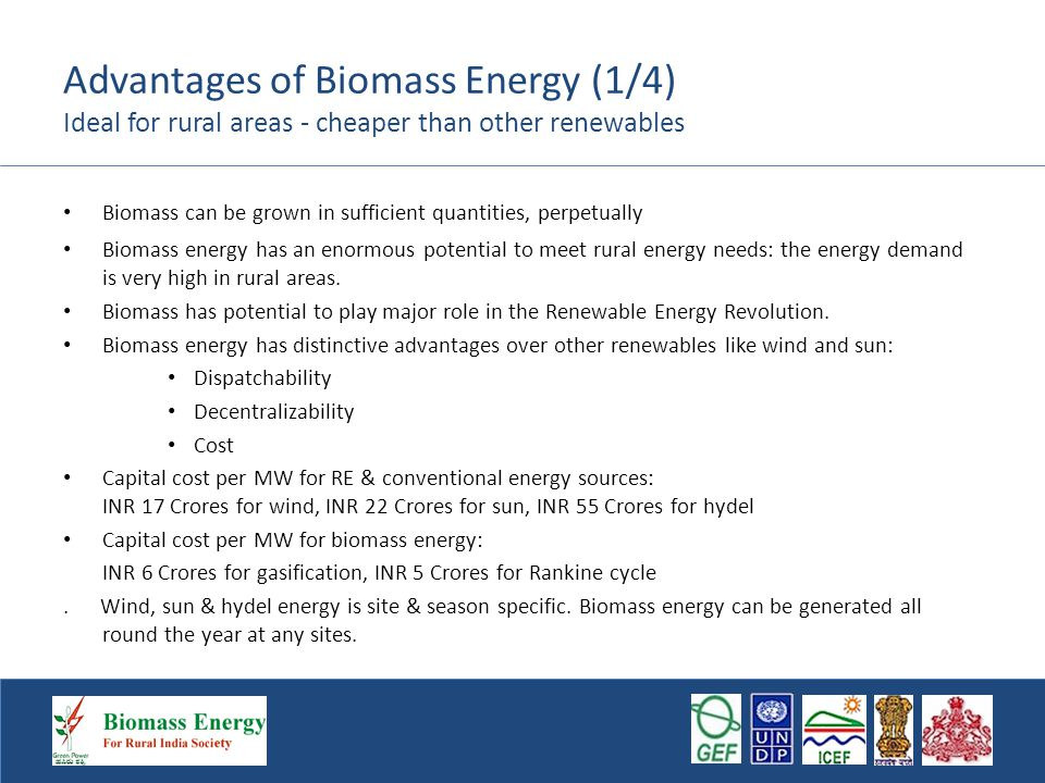 Advantages of Biomass Energy (1/4) Ideal for rural areas - cheaper than other renewables Biomass can be grown in sufficient quantities, perpetually Biomass energy has an enormous potential to meet rural energy needs: the energy demand is very high in rural areas.