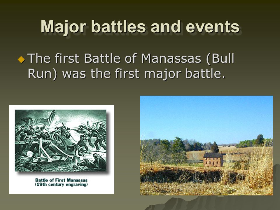 Major battles and events The firing on Fort Sumter, S.C., began the war. The firing on Fort Sumter, S.C., began the war.