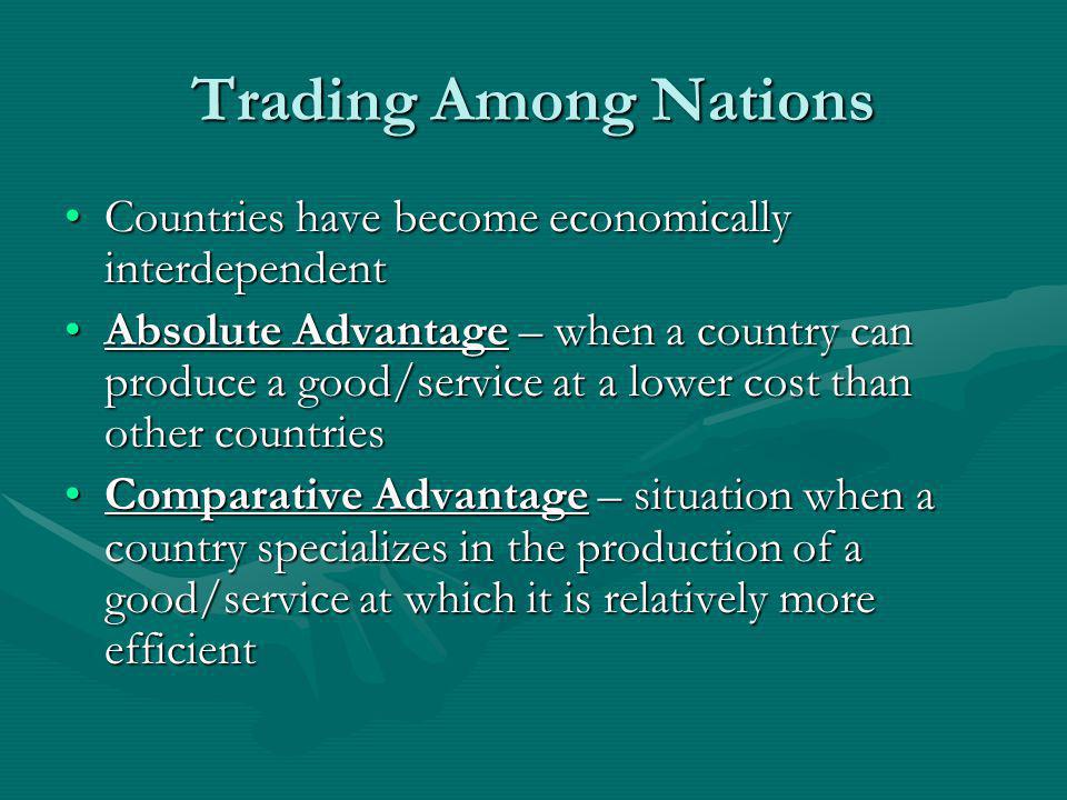 Intl Trade Organizations (cont.) International Monteary Fund – promotes economic cooperation by stabilizing monetary exchange system.