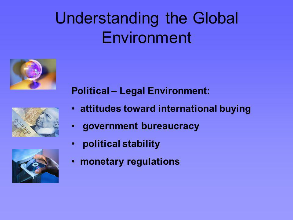 Understanding the Global Environment Political – Legal Environment: attitudes toward international buying government bureaucracy political stability monetary regulations