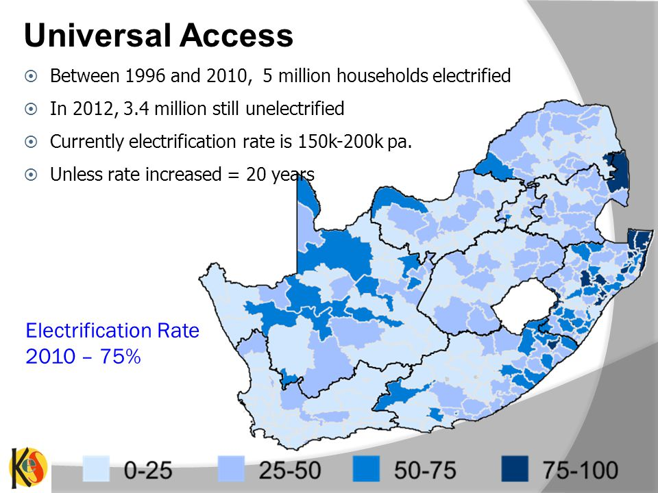 Electrification Rate 2010 – 75% Between 1996 and 2010, 5 million households electrified In 2012, 3.4 million still unelectrified Currently electrification rate is 150k-200k pa.