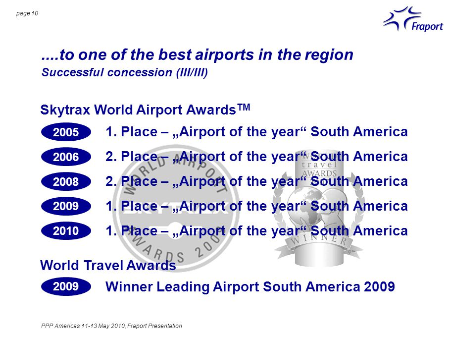page 10....to one of the best airports in the region Successful concession (III/III) Skytrax World Airport Awards TM 1.