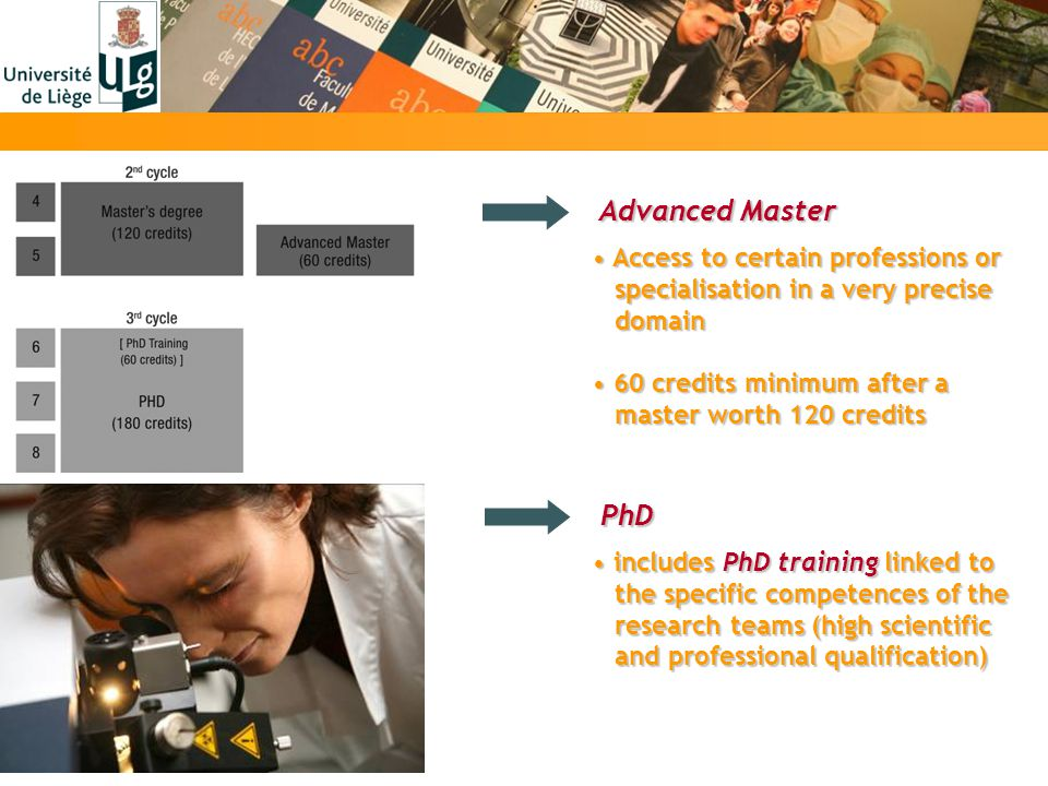 Advanced Master Advanced Master Access to certain professions or Access to certain professions or specialisation in a very precise specialisation in a