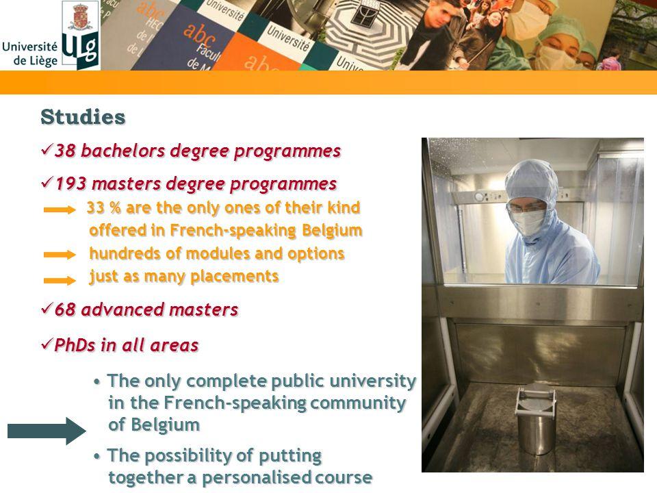 Studies 38 bachelors degree programmes 38 bachelors degree programmes 193 masters degree programmes 193 masters degree programmes 33 % are the only on