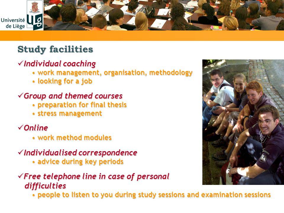 Study facilities Individual coaching Individual coaching work management, organisation, methodology work management, organisation, methodology looking