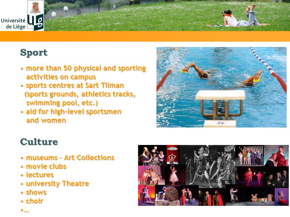 Sport more than 50 physical and sporting more than 50 physical and sporting activities on campus activities on campus sports centres at Sart Tilman sp