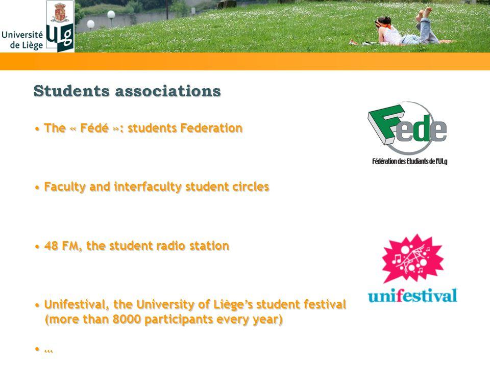 Students associations The « Fédé »: students Federation The « Fédé »: students Federation Faculty and interfaculty student circles Faculty and interfa