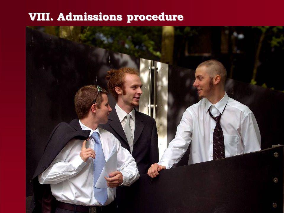 VIII. Admissions procedure