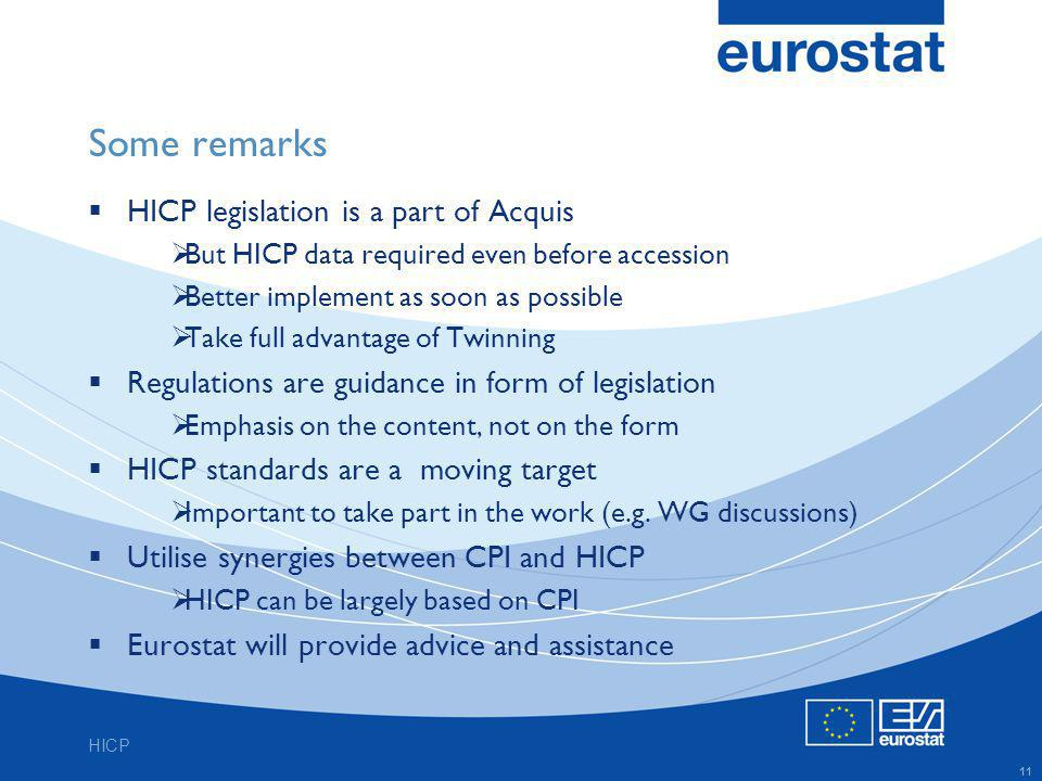 HICP 11 Some remarks HICP legislation is a part of Acquis But HICP data required even before accession Better implement as soon as possible Take full advantage of Twinning Regulations are guidance in form of legislation Emphasis on the content, not on the form HICP standards are a moving target Important to take part in the work (e.g.