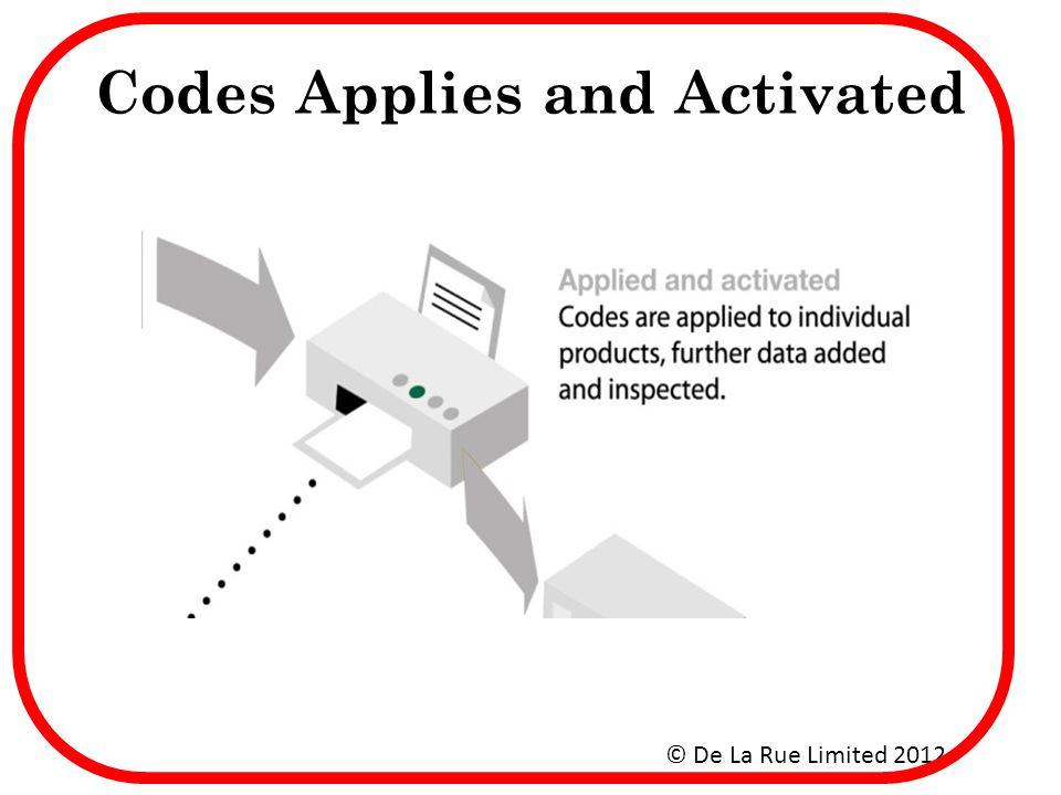 Codes Applies and Activated © De La Rue Limited 2012