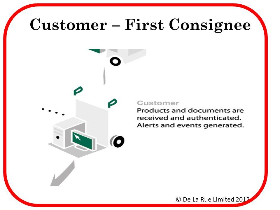 Customer – First Consignee © De La Rue Limited 2012