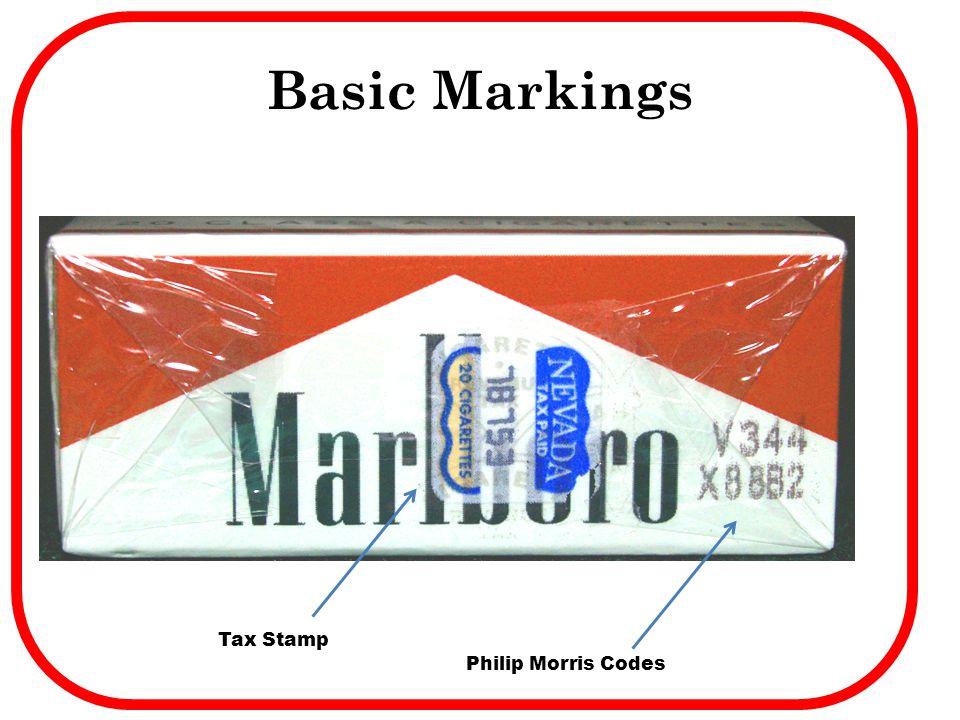 Basic Markings Philip Morris Codes Tax Stamp