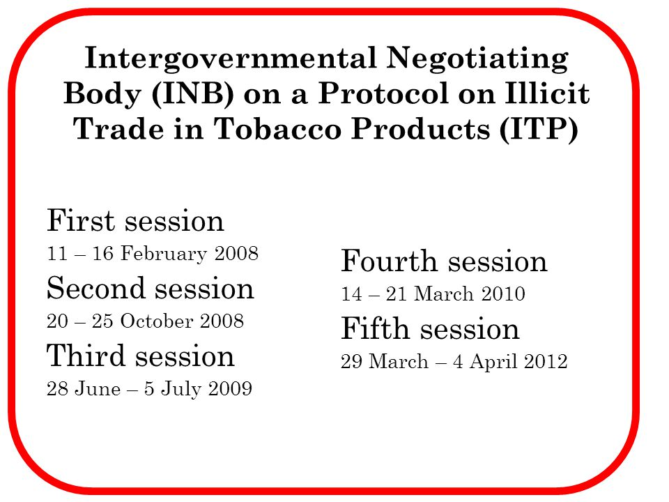 Intergovernmental Negotiating Body (INB) on a Protocol on Illicit Trade in Tobacco Products (ITP) First session 11 – 16 February 2008 Second session 2