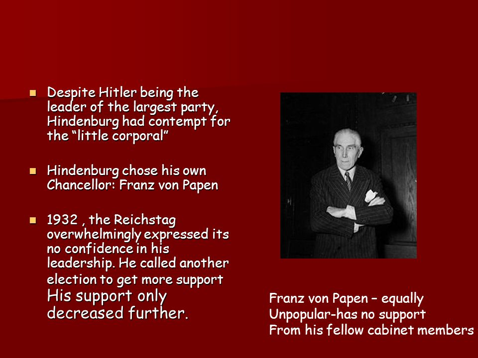 The results speak ….. Communist party (KPD), Social Democrat party (SDP), Catholic centre Party Nationalist Party (DNVP), Nazi party (NSDAP),