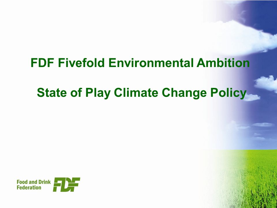 FDF Fivefold Environmental Ambition State of Play Climate Change Policy