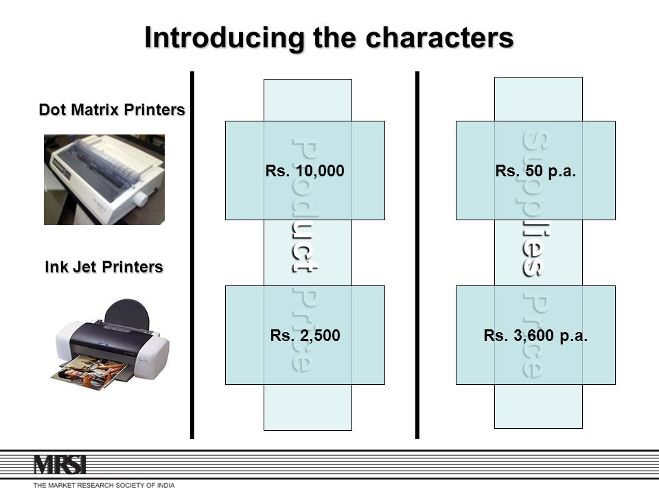 Product Price Supplies Price Introducing the characters Rs. 10,000Rs. 50 p.a. Rs. 2,500Rs. 3,600 p.a. Dot Matrix Printers Ink Jet Printers