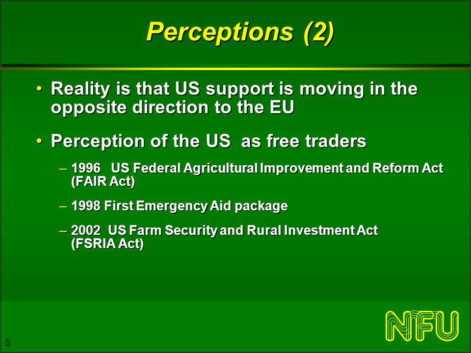 5 Perceptions (2) Reality is that US support is moving in the opposite direction to the EUReality is that US support is moving in the opposite direction to the EU Perception of the US as free tradersPerception of the US as free traders –1996 US Federal Agricultural Improvement and Reform Act (FAIR Act) –1998 First Emergency Aid package –2002 US Farm Security and Rural Investment Act (FSRIA Act)