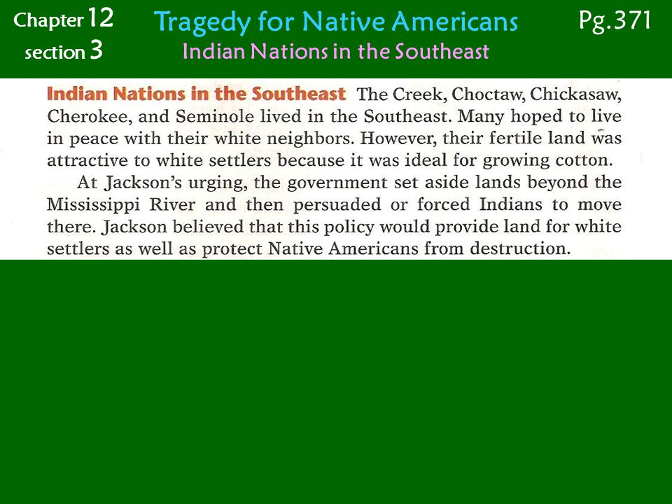 Tragedy for Native Americans Indian Nations in the Southeast Chapter 12 section 3 Pg.371