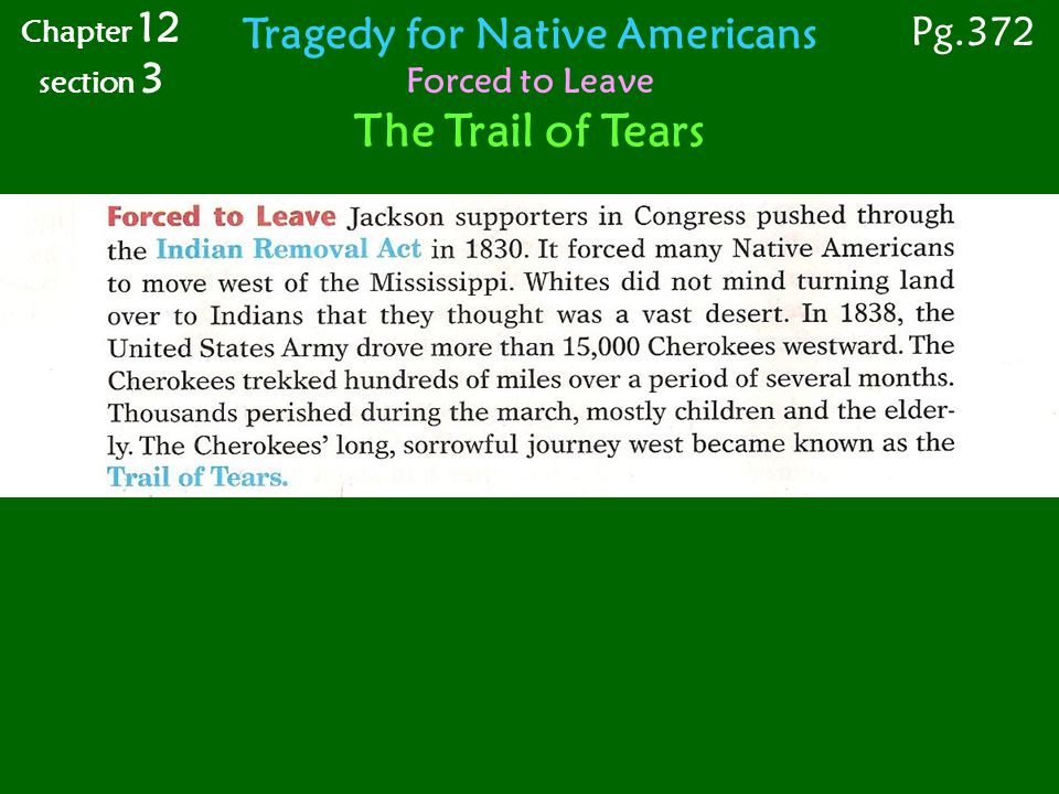 Chapter 12 section 3 Tragedy for Native Americans Forced to Leave The Trail of Tears Pg.372
