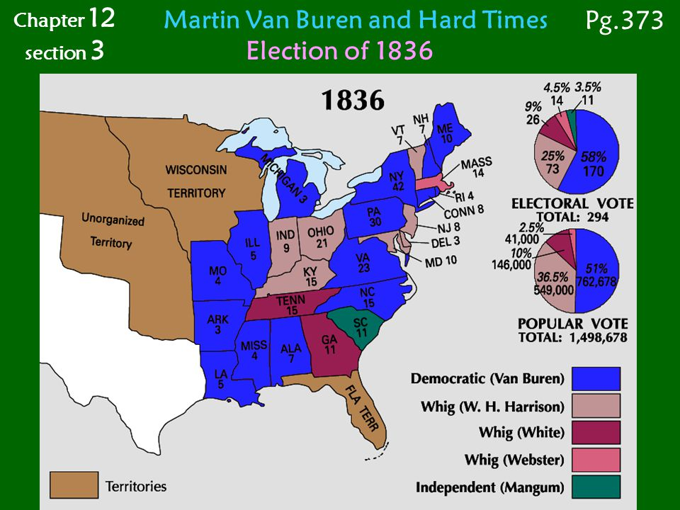 Martin Van Buren and Hard Times Election of 1836 Chapter 12 section 3 Pg.373