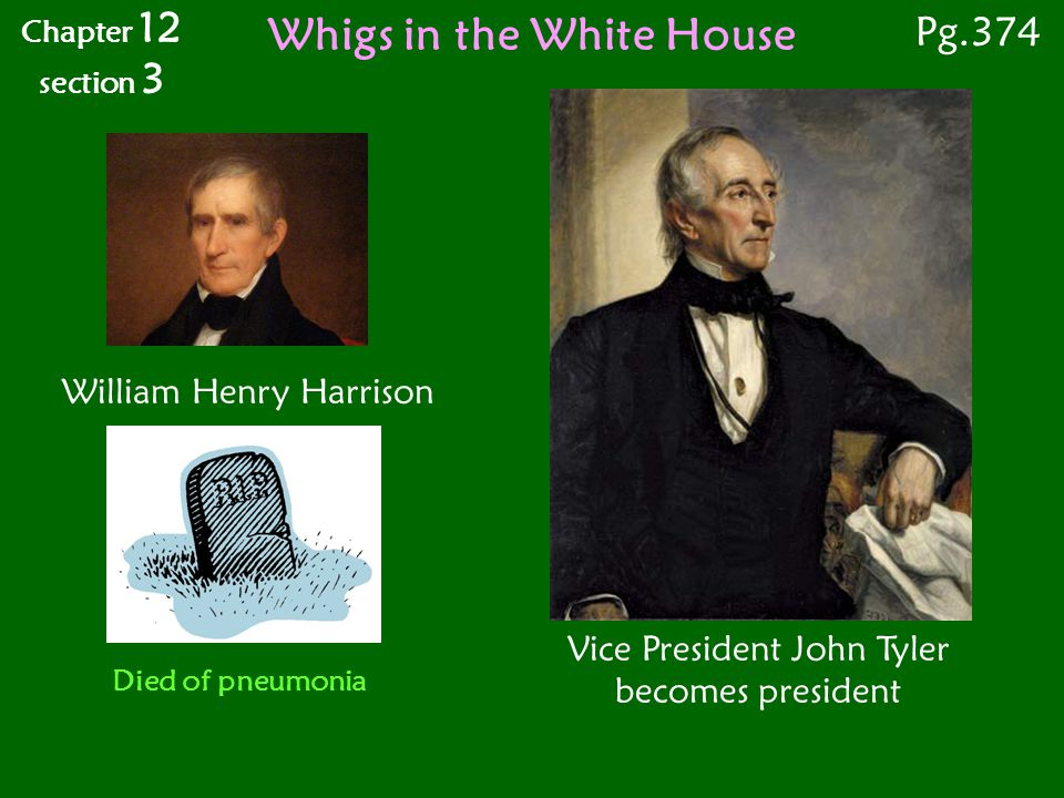 Whigs in the White House Vice President John Tyler becomes president William Henry Harrison Chapter 12 section 3 Pg.374 Died of pneumonia