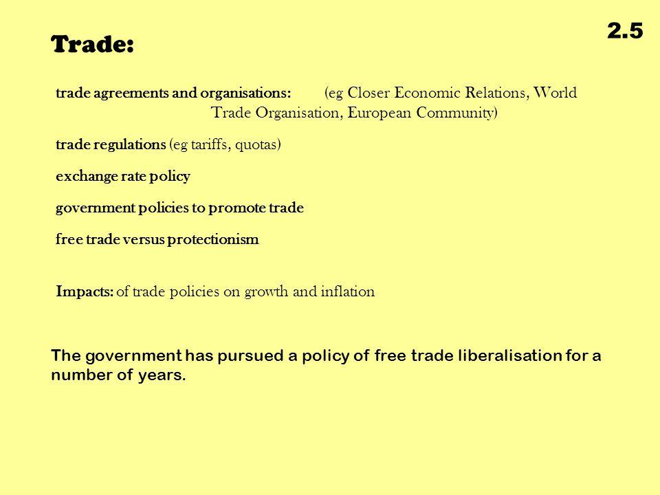 Trade: 2.5 trade agreements and organisations: (eg Closer Economic Relations, World Trade Organisation, European Community) trade regulations (eg tari